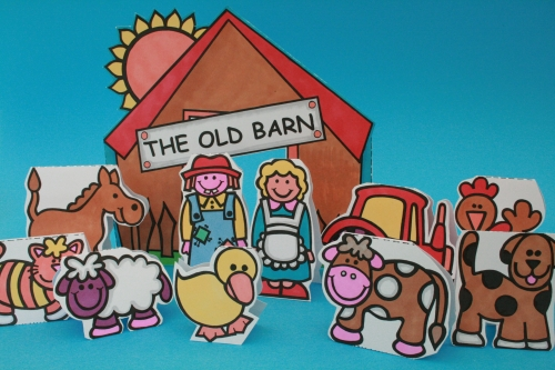Colour And Cut Out Farmyard Scene