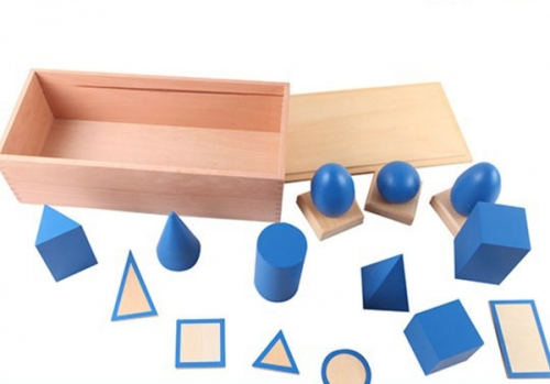 Blue Geometric Solids with Stand