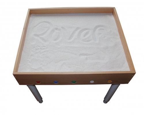 Luminous table in beech for sand painting (includes sand 12.5 kg)